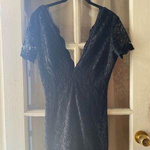 Black Lace Plunging Neckline Tobi Dress